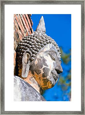 Sculpture Buddha Face Texture Detail Framed Print by Chatuporn Sornlampoo