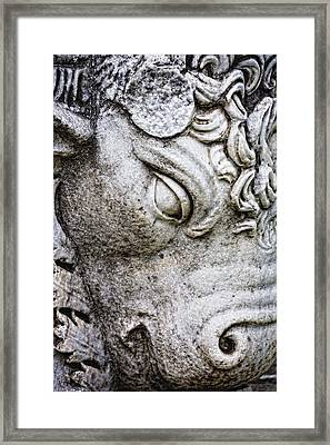 Sculpture Of Bull, Temples Of Apollo Framed Print