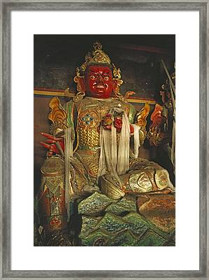 Sculpture Of Wrathful Protective Deity Framed Print by Gordon Wiltsie
