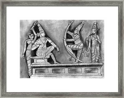 Sculpture Scene From Ramayana  Framed Print by Shashi Kumar