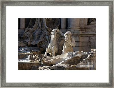 Sculptures On Trevi Fountain. Rome Framed Print by Bernard Jaubert