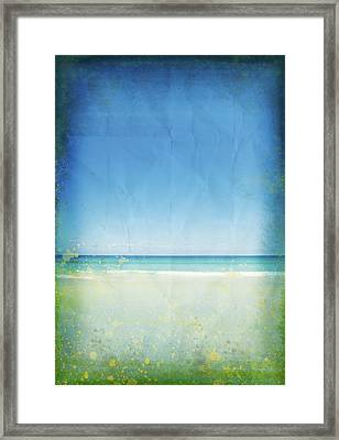 Sea And Sky On Old Paper Framed Print by Setsiri Silapasuwanchai