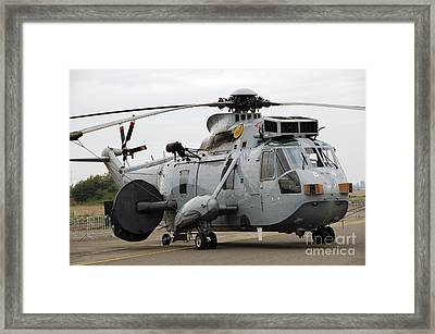 Sea King Helicopter Of The Royal Navy Framed Print by Luc De Jaeger