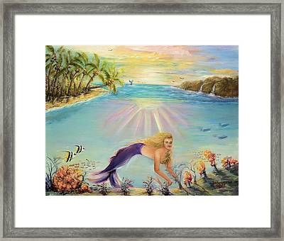 Sea Mermaid Goddess Framed Print by Bernadette Krupa