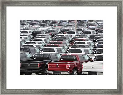 Sea Of Trucks Framed Print by Lisa Plymell
