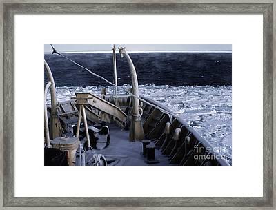 Sea Smoke, Sea Ice, And Icicles Framed Print