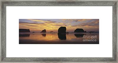 Sea Stacks Framed Print by Chromosohm Media Inc and Photo Researchers