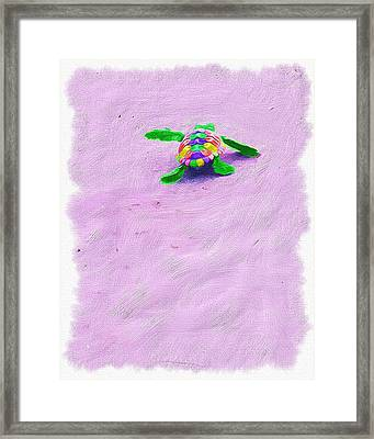 Sea Turtle Escape Framed Print