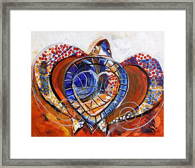 Sea Turtle Love - Orange And White Framed Print
