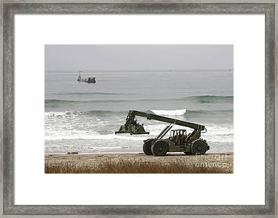 Seabee Loader And Powered Causeway Framed Print by Michael Wood