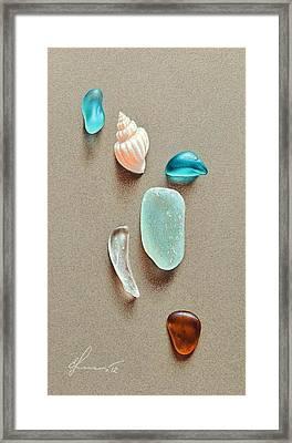 Seaglass Pieces Framed Print by Elena Kolotusha