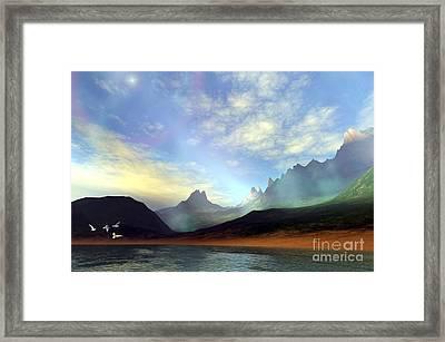 Seagulls Fly Near A Beautiful Island Framed Print