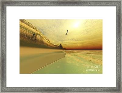 Seagulls Fly Near The Mountains Of This Framed Print