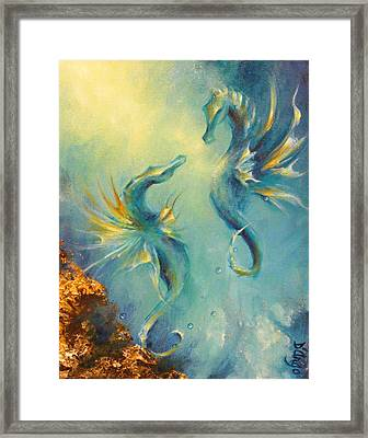 Seahorses In Love 4 Framed Print by Dina Dargo