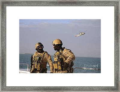 Seals Aboard A Rigid-hull Inflatable Framed Print by Stocktrek Images