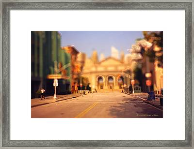 Framed Print featuring the photograph Seaport Tiltshift by EricaMaxine  Price
