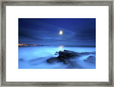 Seascape And Moonrise Framed Print by Angus Clyne