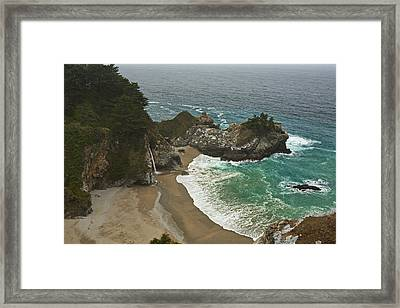 Seascape And Waterfall At Julia Pfeiffer Burns State Park Framed Print by Gregory Scott