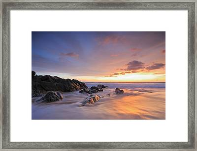 Seascape At Sunset Framed Print by Teerapat Pattanasoponpong