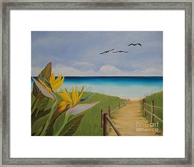 Framed Print featuring the painting Seascape by Jindra Noewi