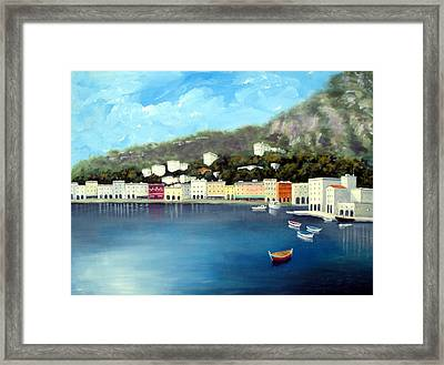 Framed Print featuring the painting Seaside Town by Larry Cirigliano