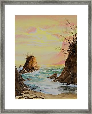 Seastack Sunset Framed Print