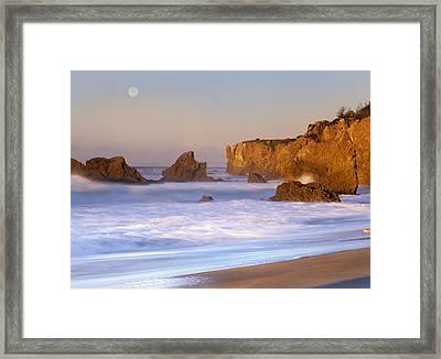 Seastacks And Full Moon At El Matador Framed Print by Tim Fitzharris