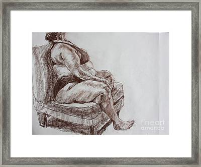 Seated Figure Framed Print by Jan Bennicoff