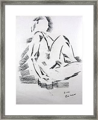 Framed Print featuring the drawing Seated Male by Brian Sereda