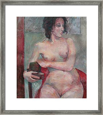 Seated Nude Framed Print by Susanne Clark
