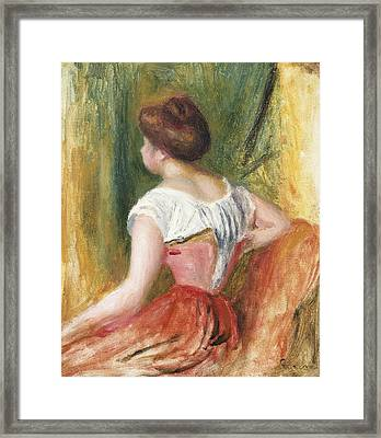 Seated Young Woman Framed Print by Pierre Auguste Renoir