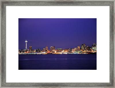Seattle At Dusk Framed Print