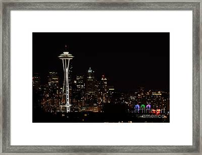 Seattle At Night Framed Print by Alan Clifford