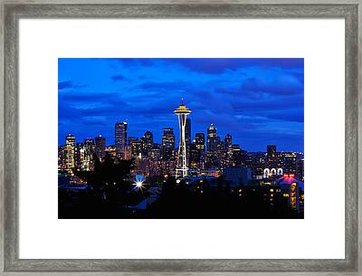 Seattle At Night From Kerry Park Framed Print