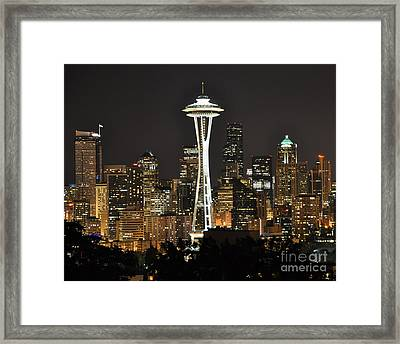 Framed Print featuring the photograph Seattle At Night by Jack Moskovita