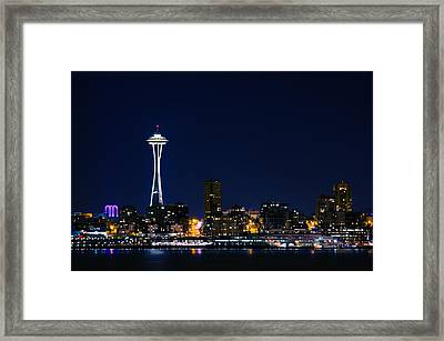Seattle At Night Framed Print by Rich Leighton