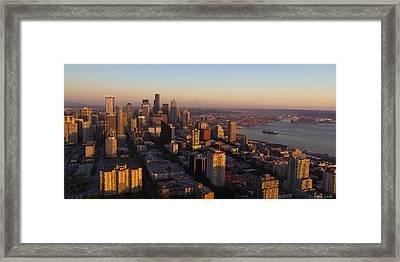 Seattle Blue Hour Framed Print by Heidi Smith