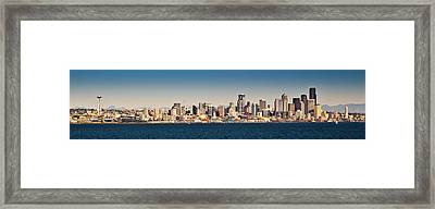 Seattle Cityscape Panorama Framed Print