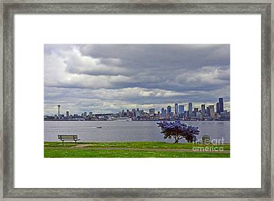 Framed Print featuring the photograph Seattle From Alki Beach by Jack Moskovita