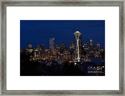 Seattle In The Evening Framed Print by Alan Clifford