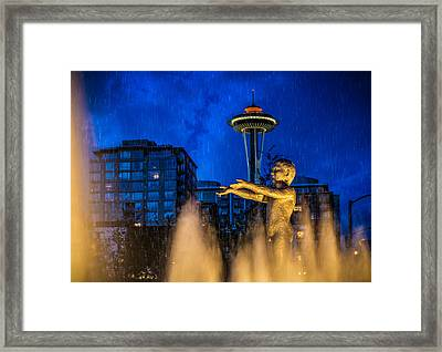 Seattle Rain Boy Framed Print