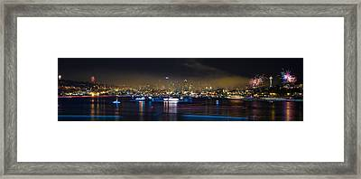 Seattle Skyline Firework Panorama Framed Print by Dmitry Grekov