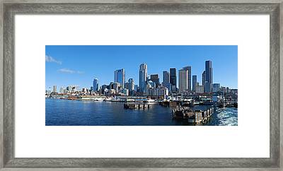 Seattle Skyline From Puget Sound Framed Print by Twenty Two North Photography