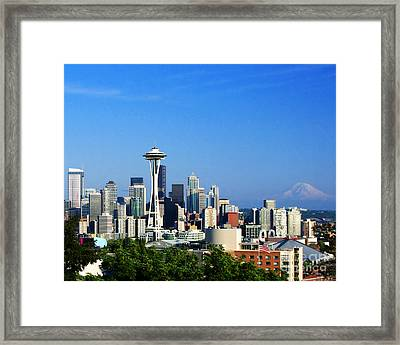 Seattle Skyline Framed Print by Jack Moskovita