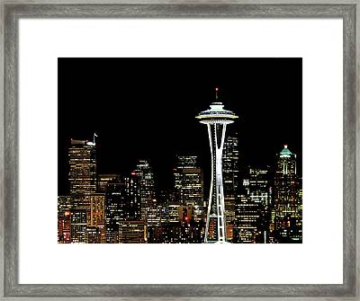 Seattle Skyline With Space Needle Framed Print by Tim Ford