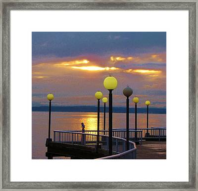 Seattle Sunburst Framed Print by Feva  Fotos