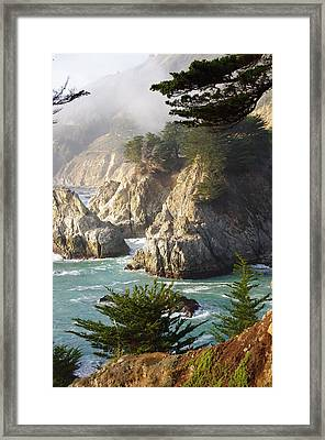 Secluded Big Sur Cove 1 Framed Print by Jeff Lowe