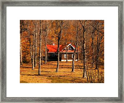 Secluded Red Roof Cottage In An Autumn Scene Framed Print by Chantal PhotoPix