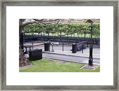 Security Barriers At Houses Of Parliament Framed Print by Mark Williamson