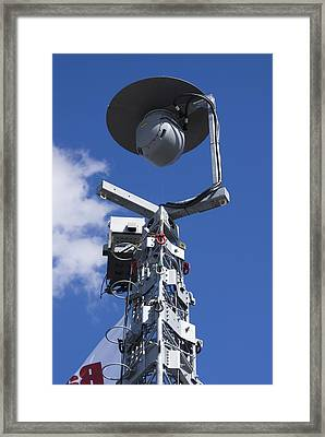Security Camera On Tower. Framed Print by Mark Williamson